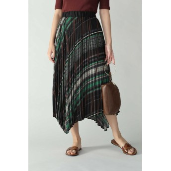 ローズバッド ROSE BUD ランダムストライププリントスカート ブラック -【税込10,800円以上購入で送料無料】