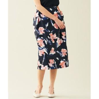 TOMORROWLAND/トゥモローランド ナイトフラワープリント タックIラインスカート 68 ネイビー系 34(7号)