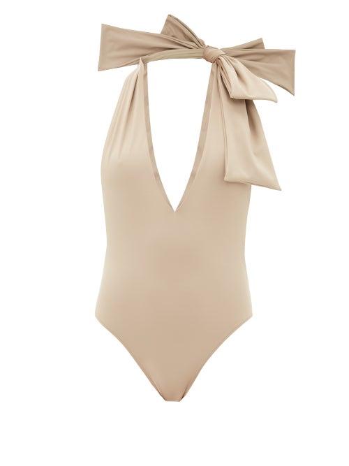Fendi - Bow Halterneck Swimsuit - Womens - Beige