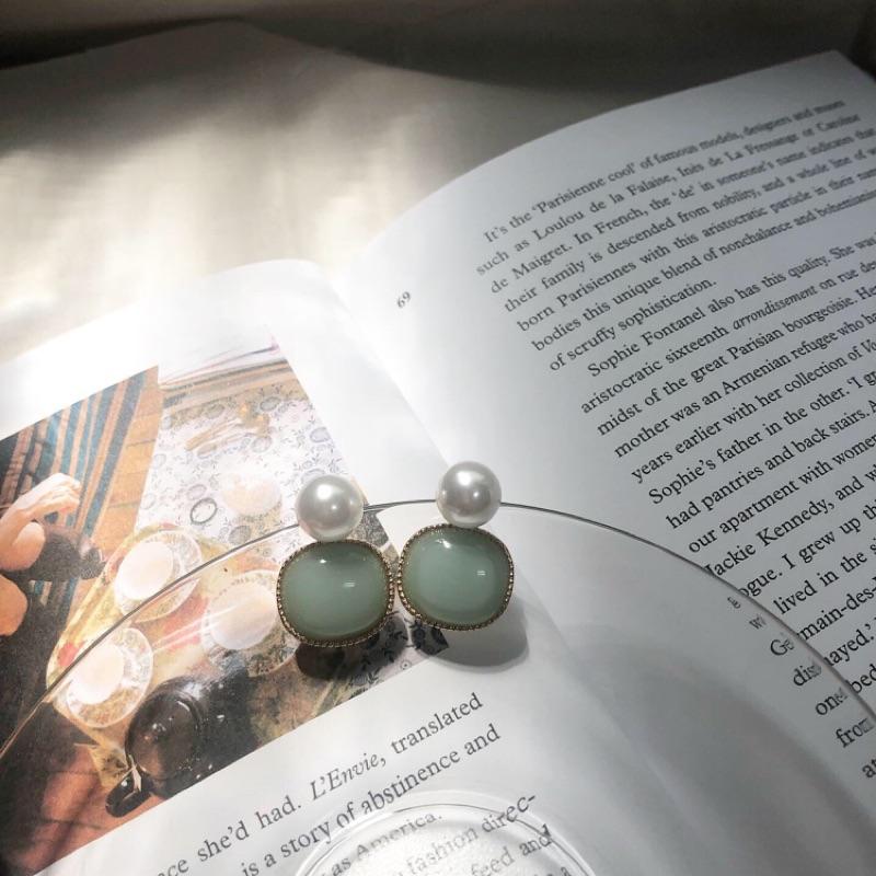 (現貨)ㄧ顆珍珠大綠豆耳針