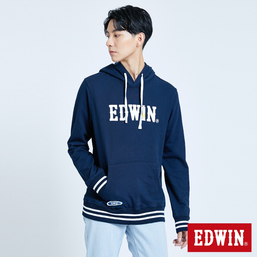 EDWIN 顏料配條長袖連帽T恤(丈青色)-男款