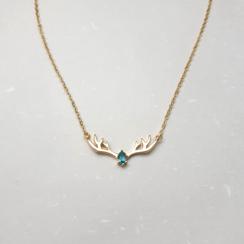 藍鋯石x鹿角 細鍊項鍊 鎖骨鍊