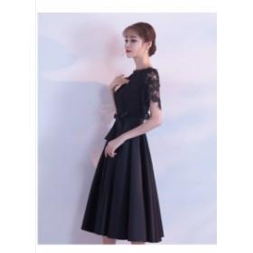 パーティードレス 結婚式 二次会 ワンピース 大きいサイズ 黒レース ワンピース 結婚式ドレス お呼ばれ ワンピース 20代 30代 40代 パー