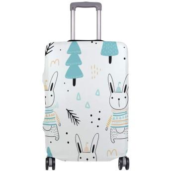 スーツケースカバー うさぎ柄 松 かわいい 伸縮素材 保護カバー 紛失キズ 保護 汚れ 卒業旅行 旅行用品 トランクカバー 洗える ファスナー 荷物ケースカバー 個性的