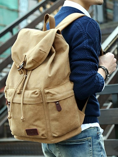 簡約男士帆布雙肩包初中大學生書包復古電腦背包大容量旅行包男包 後街五號