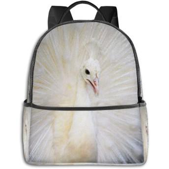 White Peacock Feather ハイエンドのファッションシンプルで美しいファッションバックパック屋内および屋外の四季は、印刷プロセスフルフレーム印刷デザインを転送します
