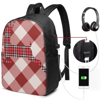 赤と白のチェック柄トナカイ リュック USB充電ポート付き PCバッグ リュックサック イヤホン穴付き 大容量 多機能