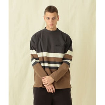 Pilgrim Surf+Supply 【予約】Pilgrim Surf+Supply / Rohan Cotton Stripe Mockneck Tee メンズ スウェット BLACK/WHITE/BROWN M