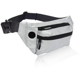 ウエストバッグ ショルダーバック ウェストポーチ 防水 多機能 ランニングポーチ 大容量 軽量 ヒップバッグ 旅行カバン 運動 アウトドア 調節可能ベルト メンズ レディース (シルバー)