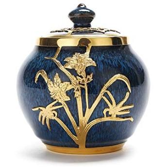 金象眼細工茶キャニスター 和風 伝統的な茶Tea セラミックティーキャニスター 6色9.4x9.7cm、ボリューム85g (Color : C)