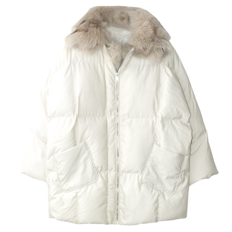 冬季新款寬松網紅加厚中長款毛領大衣東大門港風棉服羽絨服女