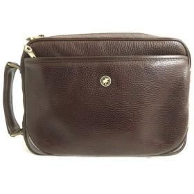 美品◎HUNTING WORLD ハンティングワールド ロゴ金具付き レザーセカンドバッグ レッドブラウン イタリア製 保存袋付き