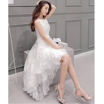 レディース マキシワンピース エレガント ドレス ノースリーブ ワンピース ホワイト ロング 322