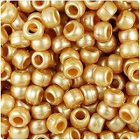 BeadTinゴールドパール9ミリメートルバレルポニービーズ(500PC)