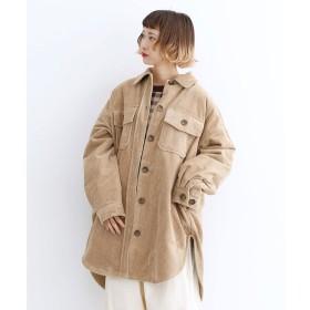 メルロー merlot コーデュロイ裏ボアCPOシャツジャケット (ベージュ)