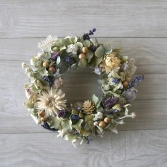 送料無料 naturalblue wreath dryflower