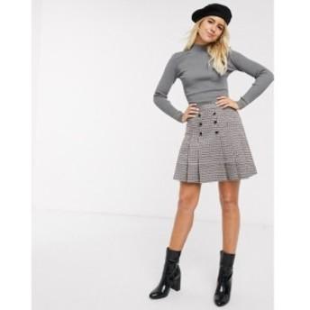 オアシス Oasis レディース スカート kilt skirt in brown houndstooth check ダークブラウン