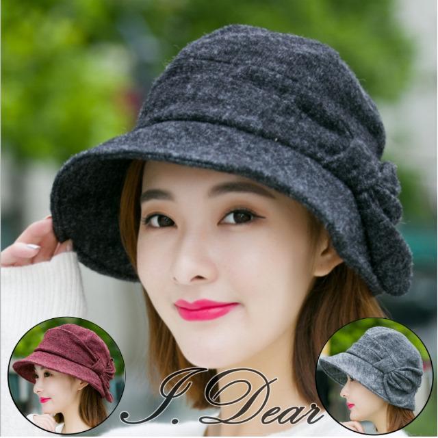 【I.Dear】時尚保暖護耳蝴蝶結羊毛呢小臉貝雷帽(3色)