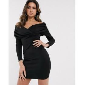 エイソス ASOS DESIGN レディース ワンピース ミニ丈 ワンピース・ドレス bardot ruched side long sleeve mini dress ブラック