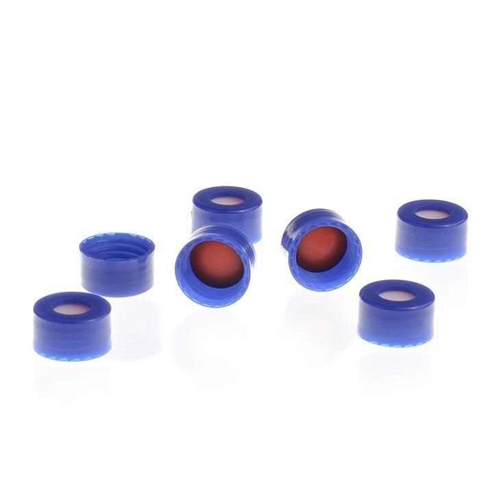 《實驗室耗材專賣》ALWSCI 2ml Vial瓶蓋 藍色平滑中空蓋 含9mm 白PTFE膜/紅silicone墊片 100pcs/pk 實驗儀器 塑膠製品 鐵氟龍/矽膠墊片