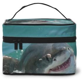 コスメバニティケース 化粧ポーチ 化粧ケース メイクボックス 大容量 バニティポーチ 多用途バッグ トラベルポーチ コスメ化粧品 小物入れ 収納ケース 旅行用 海 サメ 犬柄