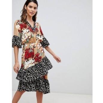ワイ エー エス Y.A.S レディース ワンピース ティアードドレス ワンピース・ドレス mix print tiered midi ruffle dress マルチカラー