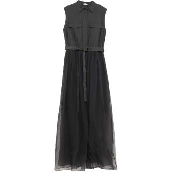 《セール開催中》BRUNELLO CUCINELLI レディース ロングワンピース&ドレス スチールグレー S シルク 100% / コットン / ナイロン / 真鍮/ブラス / エコブラス