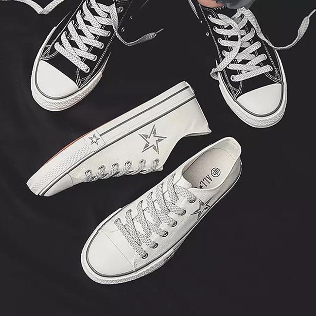 FOFU-帆布鞋簡約風百搭星星印花平底帆布鞋【08B-S0386】