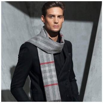 XAZTY 英国の格子縞の厚いタッセルスカーフ、ユニセックス、ウール秋と冬の暖かいとエレガントな気質のスカーフ(マルチカラーオプション) (Color : Light gray)