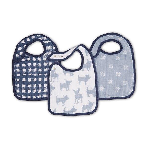 美國 Aden + Anais 雙層細紗布圍兜(3入裝)藍色小狗 ANA7137【紫貝殼】