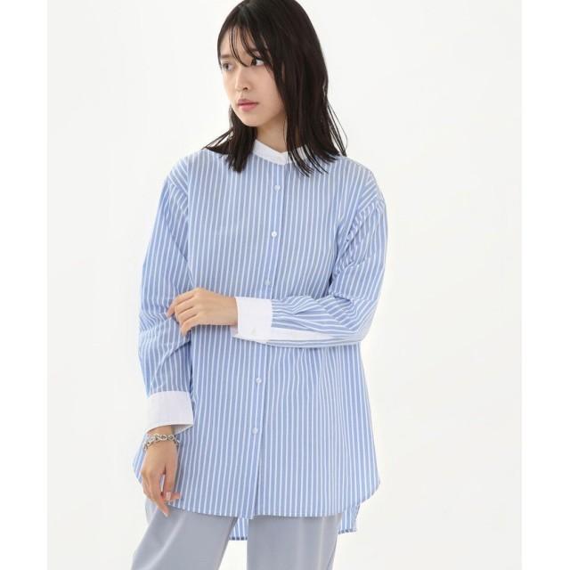 コーエン ブロードバンドカラーロングシャツ(バンドカラーシャツ) レディース LTBLUE FREE 【coen】