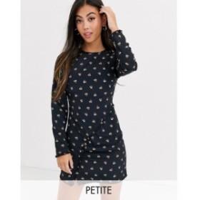 ファッションユニオン Fashion Union Petite レディース ワンピース ミニ丈 ruched front mini dress in allover ditsy floral ブラック/