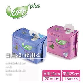【芫茂UFT】草本蘆薈衛生棉(日用x3+夜用x3)