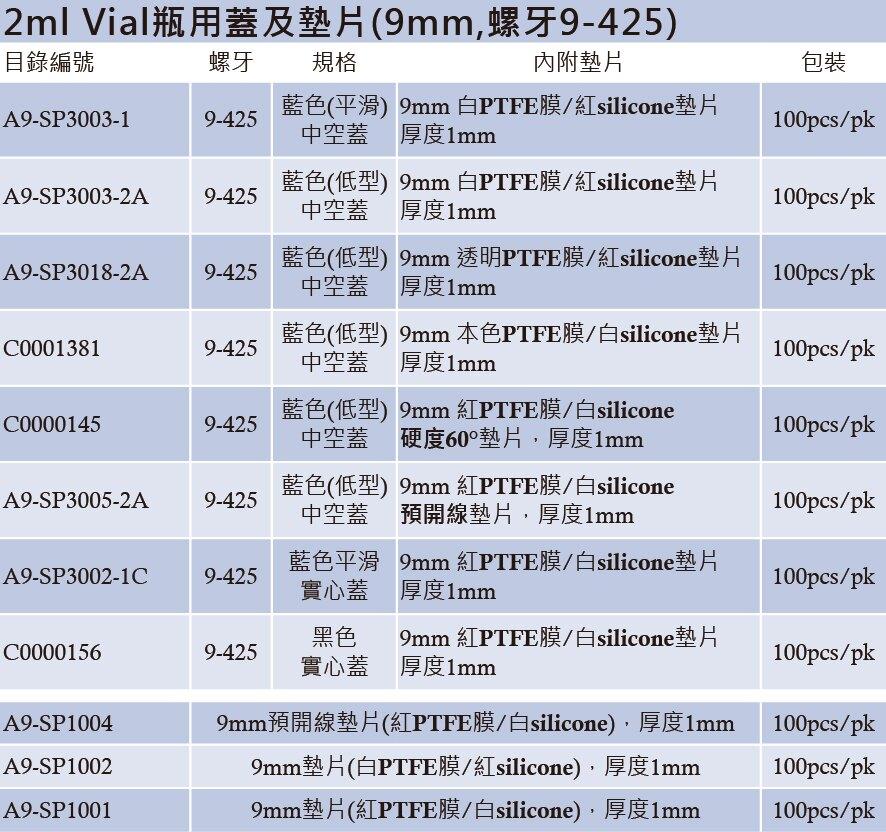 《實驗室耗材專賣》ALWSCI 2ml Vial瓶用墊片 9mm 白PTFE膜/紅silicone墊片 墊片厚度1mm 100pcs/pk 實驗儀器  塑膠製品 鐵氟龍/矽膠墊片