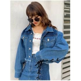 MINK TOKYO LACEUPDENIMジャケット ブルー