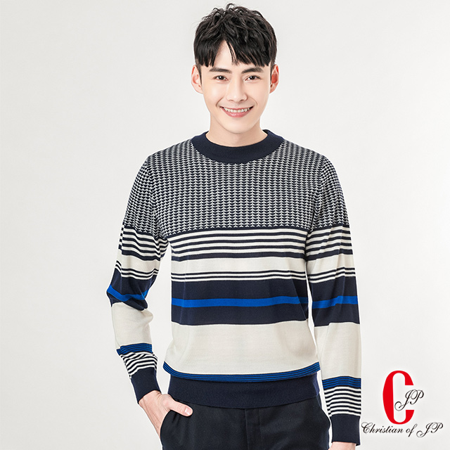 【Christian】歐美型男羊毛暖柔毛衣_米藍 (VW801-80)