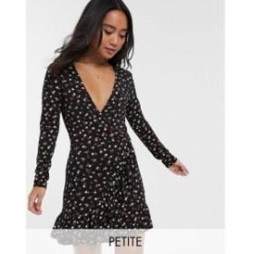ミス セルフリッジ Miss Selfridge Petite レディース ワンピース ワンピース・ドレス tea smock dress in black floral print マルチカ