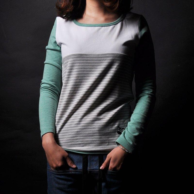 撞色拼接條紋合身棉質長袖Tee -綠條紋/藍條紋-2色