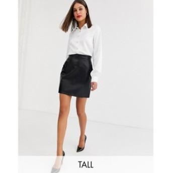 ファッションユニオン Fashion Union Tall レディース ミニスカート スカート vinyl mini skirt with button detail in black