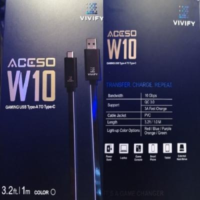 VIVIFY Aceso W10  電競RGB 紅光USB快充傳輸線