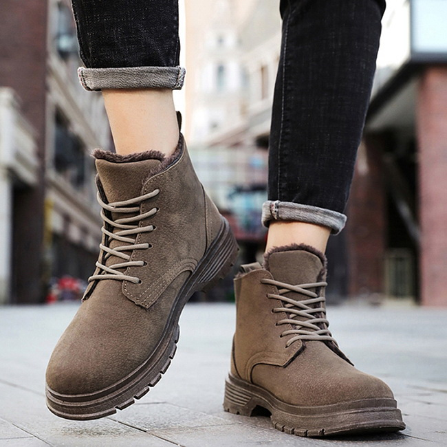 FOFU-馬丁靴个性百搭加绒包暖厚底英伦高筒靴馬丁靴【08B-S0390】