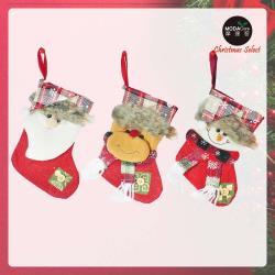 摩達客 8吋蘇格蘭格紋聖誕帽造型聖誕襪 三入組(雪人+熊熊+聖誕老公公)