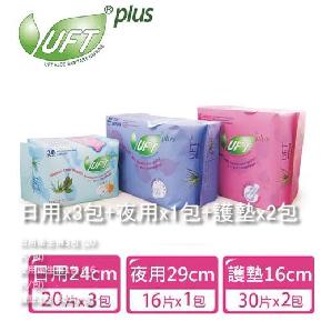 【芫茂UFT】草本蘆薈衛生棉(日用x3包+夜用x1包+護墊x2包)