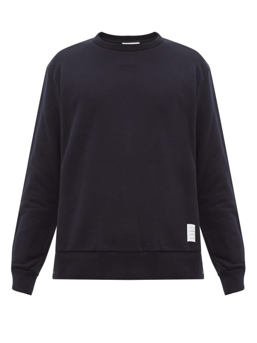 Thom Browne - Tricolor-jacquard Cotton-jersey Sweatshirt - Mens - Navy