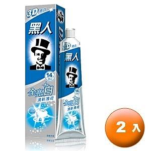 黑人 全亮白 牙膏-清新薄荷 140g (2入)/組【康鄰超市】