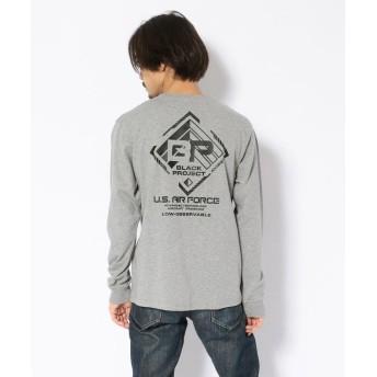 アヴィレックス ブラックプロジェクト ロングスリーヴ Tシャツ L/S BLACK PROJECT T SHIRT メンズ OXFORD M 【AVIREX】