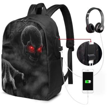 鬼 お化け バッグ 17インチ USB充電ポート付き バックパック 調節可能なショルダーストラップ アウトドアリュック 登山リュック 季節新品 多機能 通学 通勤 出張 旅行用 大容量 黒 メンズ レディース通用