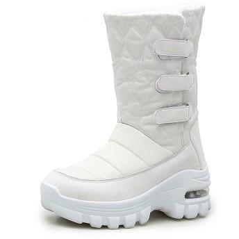 [ZanYeing] 7cm身長up スノーブーツ レディース ダウンブーツ エアクッション 柔らかい レインブーツ 裏起毛 超防寒 雪靴 マジクテープ 防水 防滑 軽量 ロングブーツ キルティング 中綿 長靴 ウインターブーツ ホワイト 25.5