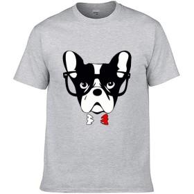 スタイリッシュ Single-sided Printing of Short-sleeved T-shirt tシャツ ボストンテリアの顔 color94 5XL