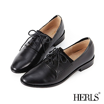 HERLS 時尚職人 全真皮素面鬆緊德比牛津鞋-黑色